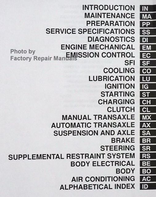2000 Toyota Echo Factory Service Manual Original Shop
