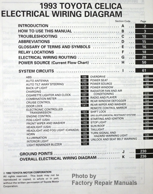 1993 Toyota Celica Electrical Wiring Diagrams