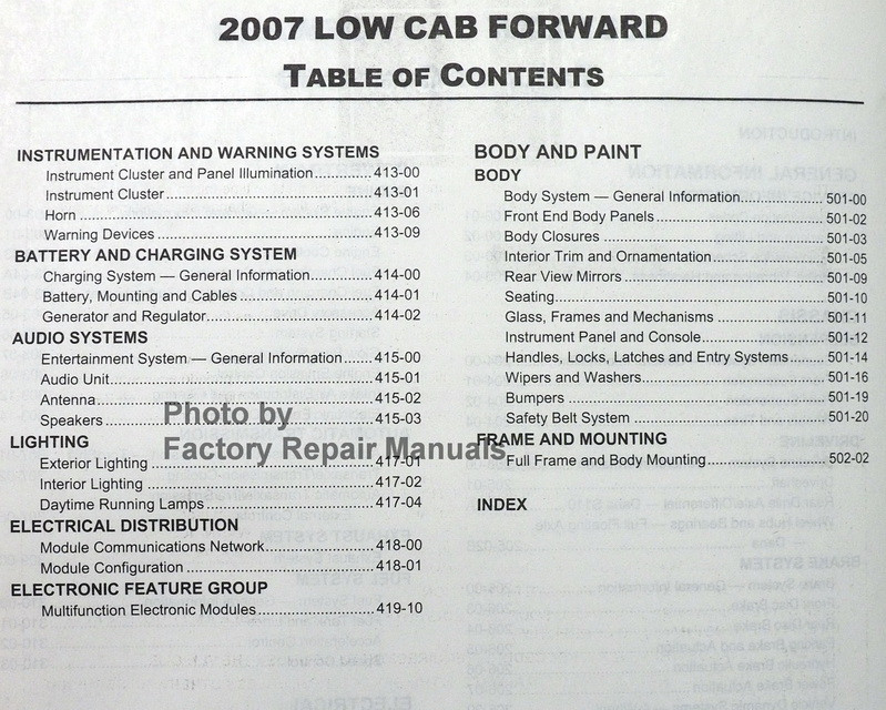 2007 Ford Lcf Low Cab Forward Truck Factory Service Manual
