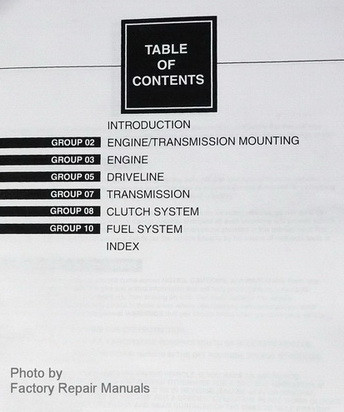 1997 Ford F-250 HD F-350 F Super Duty Service Manual Table of Contents 1