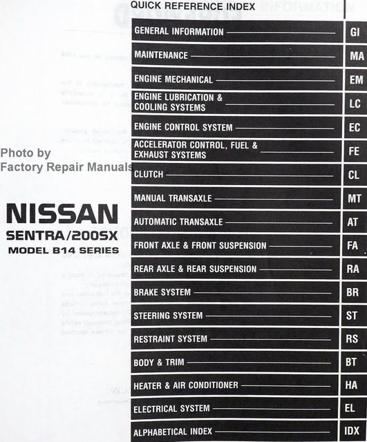 1998 Nissan Sentra, 200SX 2.0L Factory Service Manual