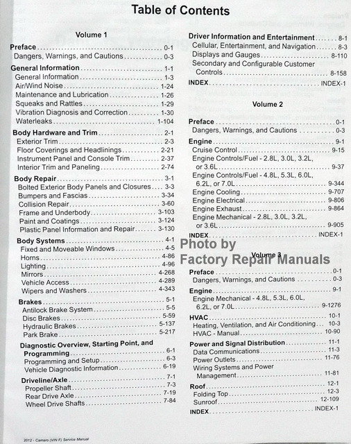 2012 GM F/Car Camaro Service Manual Table of Contents 1