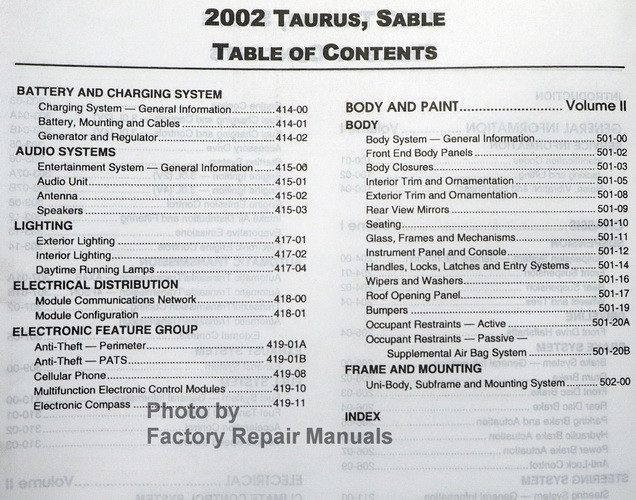 2002 ford taurus mercury sable factory service shop. Black Bedroom Furniture Sets. Home Design Ideas