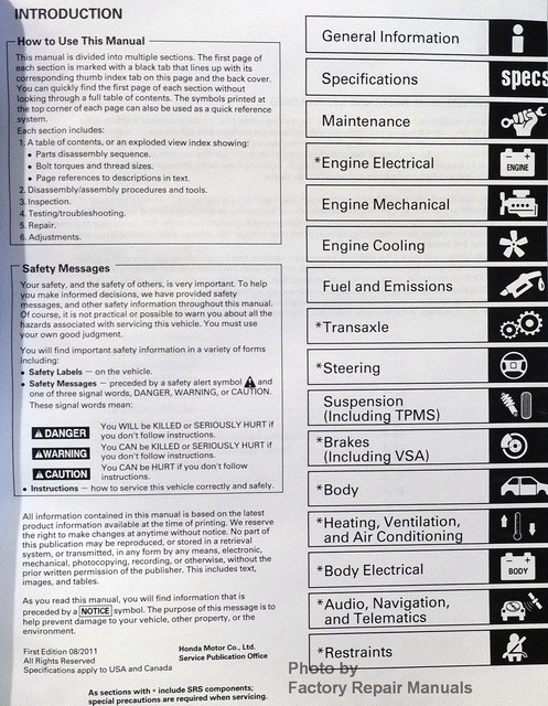 2008 2012 honda accord 4 cyl factory service manual set shop repair factory repair manuals 2008 honda accord repair manual free download 91 Honda Accord Repair Manual Lights