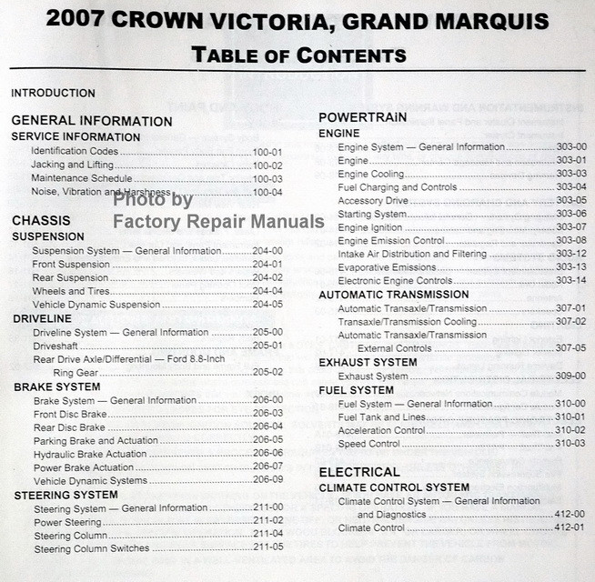 2007 Ford Crown Victoria  U0026 Mercury Grand Marquis Factory