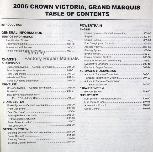 Service manual [Repair Manual 2006 Mercury Grand Marquis
