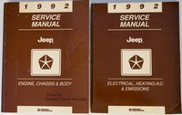 1992 Jeep Cherokee Wrangler & Commanche Factory Service Manual Set - Shop Repair
