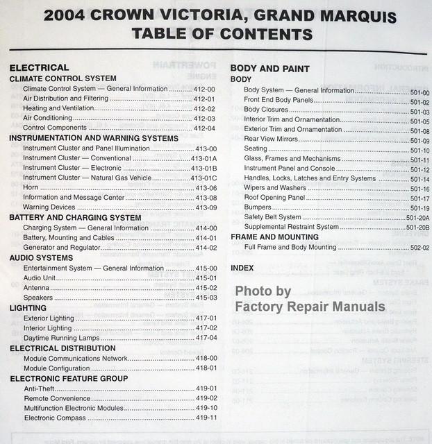 2004 crown victoria grand marquis marauder factory. Black Bedroom Furniture Sets. Home Design Ideas