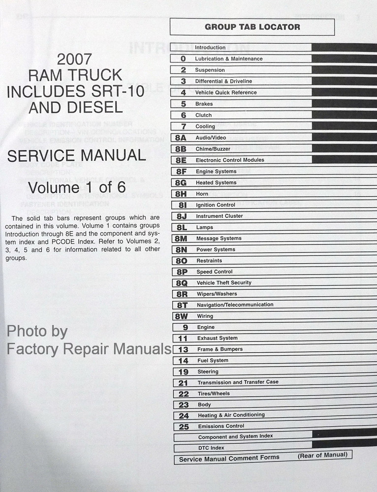 2007 dodge ram truck factory service manual set 1500. Black Bedroom Furniture Sets. Home Design Ideas