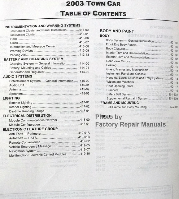 2003 lincoln town car factory service manual original shop. Black Bedroom Furniture Sets. Home Design Ideas