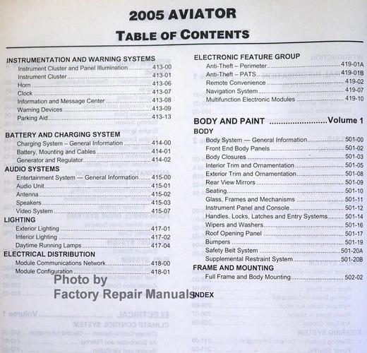 2005 lincoln aviator factory service manual set original. Black Bedroom Furniture Sets. Home Design Ideas