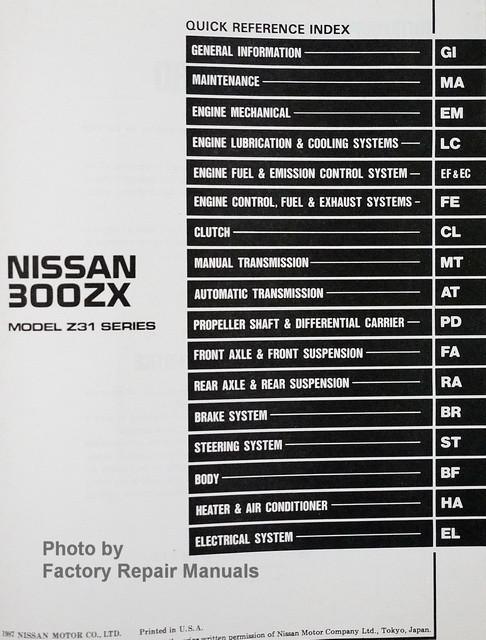 1988 nissan 300zx factory service manual original shop Manuals Nissan Originaservice Manuals Nissan Originaservice