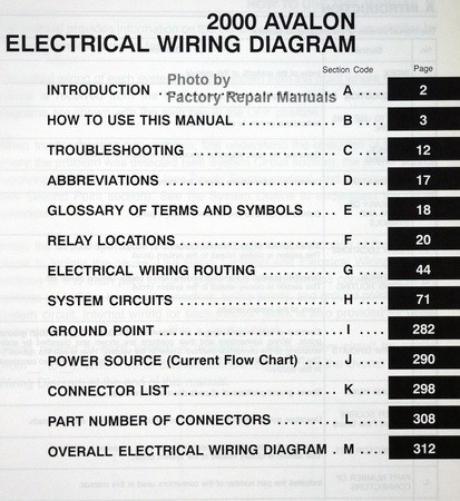 2000 Toyota Avalon Electrical Wiring Diagrams Original ...