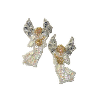 Christmas Angel with Harp Sequin Applique Pack of 2