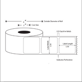 1.5x1.5 LABELS, Topcoated Direct Thermal ( Item#: BD151536003 )