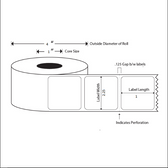 2.25x1 LABELS, Topcoated Direct Thermal ( Item#: BD225113751 )