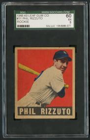 1948 Leaf #11 Phil Rizzuto HOF Rookie - SGC 60/5 - Centered