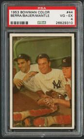 1953 Bowman Color Mantle/Berra/Bauer #44 PSA 4 - Centered