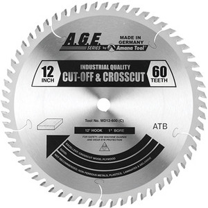 "Amana MD12-600 12"" x 60t ATB Crosscut Blade 1"" Bore"