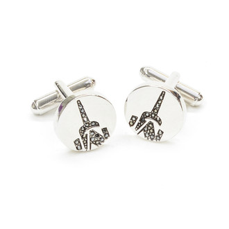 One World Observatory Crystal Cufflinks with Crystals from Swarovski