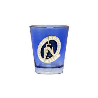 One World Observatory Blue Shot Glass w/ Enamel Logo