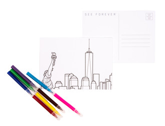 One World Observatory Postcards w/markers