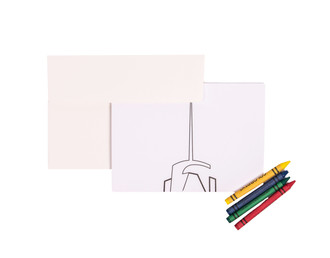 One World Observatory Coloring Cards w/Crayons