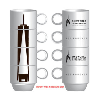 One World Observatory Set of 4 Stacked Coffee Mugs