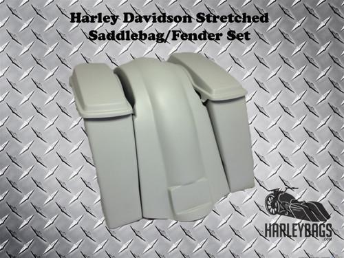 "4"" Extended Stretched Saddle Bags, Lids & Fender - Harley Davidson Heritage Softail"