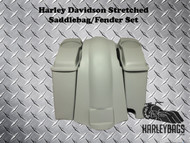 "Harley 4"" Stretched Saddlebags w/Speaker Lids & Fender, 2-in-1 Right Cut Out"
