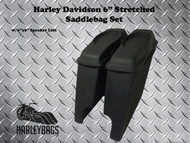 "Harley 6"" Extended Saddlebags w/ 6x9 Speaker Lids - Softail and Touring Baggers"