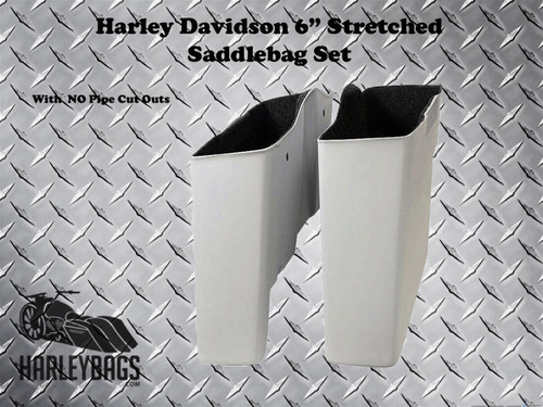 "Harley 6"" Extended Stretched Saddlebags - No Cut Outs - Softail Heritage Deluxe"