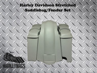 "Harley 6"" Stretched Saddlebags w/ 2-in-1 Right Side Cut Out + Dual Speaker Lids"