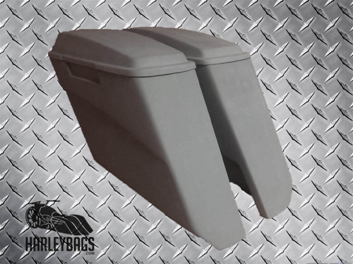 "Harley Davidson 5"" Angle Cut Stretched Saddlebags with Lids - No Cut Outs"