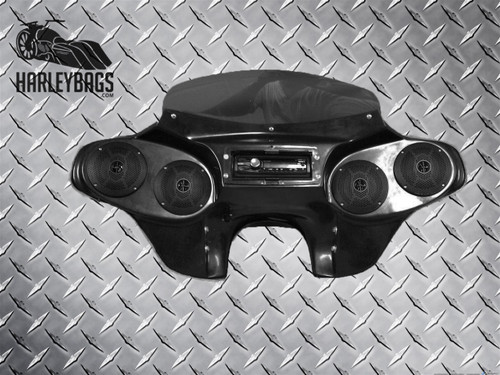 NEW Headlight Batwing Fairing (4) Speakers & Radio - Harley Touring Motorcycle