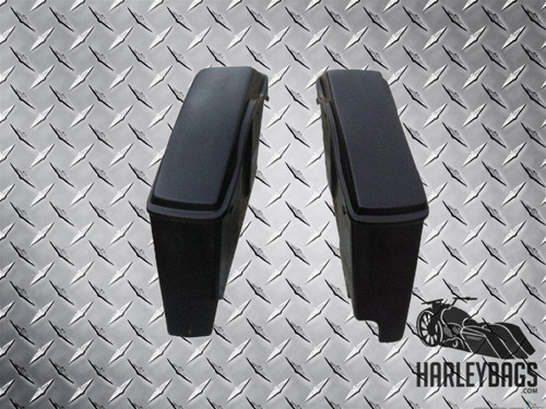 "Harley 4"" Stretched Fiberglass Saddlebags w/Lids - Right Side Cut Out"