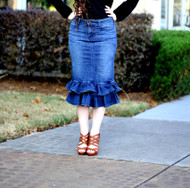 Julia Ruffle Denim Skirt