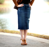 Aliza Distressed Denim Skirt