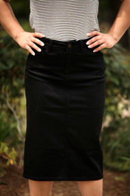 Color Denim Skirt - Black - IN STOCK