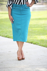 Colored Denim Skirt - Turquoise Tanager XS/S