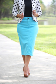 Colored Denim Skirt - River Blue