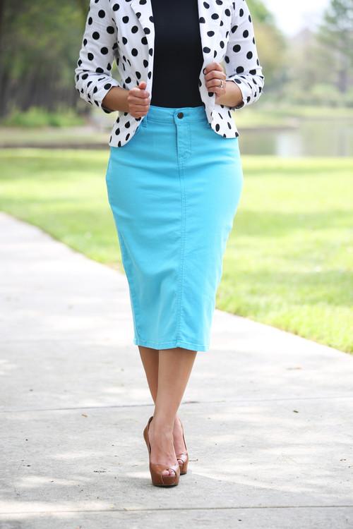 Color Denim Skirt - Bright Aqua XS/S - Beautiful One Modest Apparel