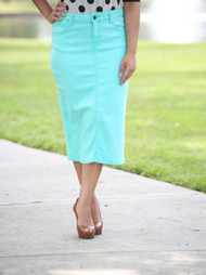 Colored Denim Skirt - Aruba Blue