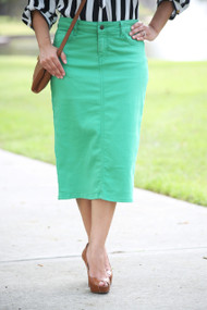 Color Denim Skirt - Bright Aqua XS/S