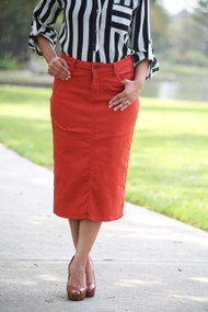 Colored Denim Skirt - Off Red