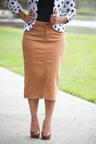 Colored Denim Skirt - Iced Coffee
