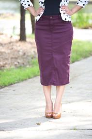 Colored Denim Skirt - Plum