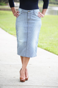 Vintage Stripe Premium Denim Skirt