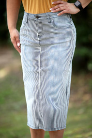 Vintage Stripe Premium Denim Skirt - SHIPS 7/20