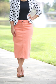 Colored Denim Skirt - Peach Bud XS/S